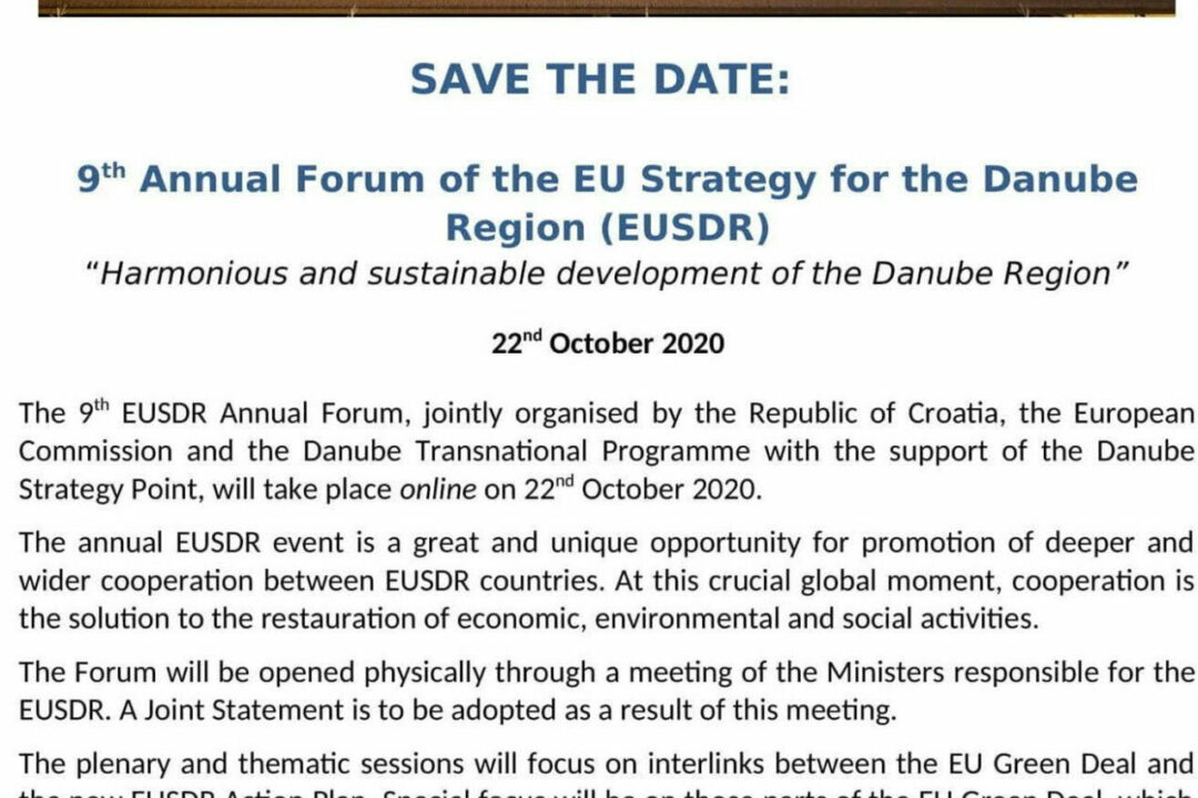 SAVE THE DATE: EUSDR Annual Forum on 22 October 2020